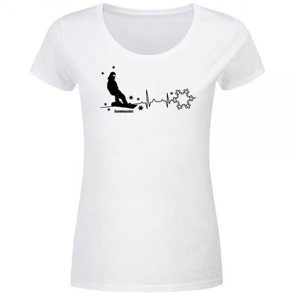 T-Shirt Frauen Herzschlag Snowboarder